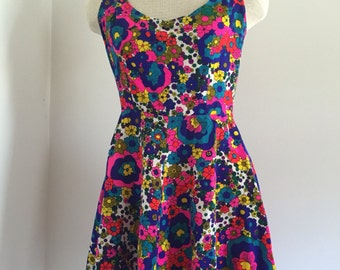 Vintage 60's Psychedelic Party Dress XS S
