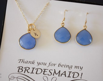 3 Bridesmaid Necklace and Earring Sets Blue, Bridesmaid Gift, Blue, Gold Filled, Monogram, Bridesmaid Necklace, Personalized, Chalcedony
