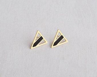 Geometric Stud Earrings, Minimalist Geometric Earrings, Gold Plated Earrings, Black Post Earrings, Triangle Earrings, Gold Triangle Earrings