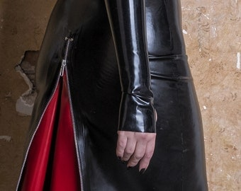 Latex Rubber Pencil Skirt with  back Zip and Contrast insert (-- Made to Order --)