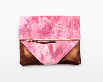 SALE! Dyed cotton clutch bag. Fold over clutch. Leather handbag. Statement purse. Hand colored. Bronze natural leather. Pink bag. / HOPE 15