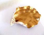 Oyster Shell Ring Dish, gold white pearl jewelry trinket box tray vanity wedding ring holder swarovski elements seashell coastal beach decor