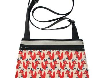 Foxes, red, grey, cross body, vegan leather, zipper top