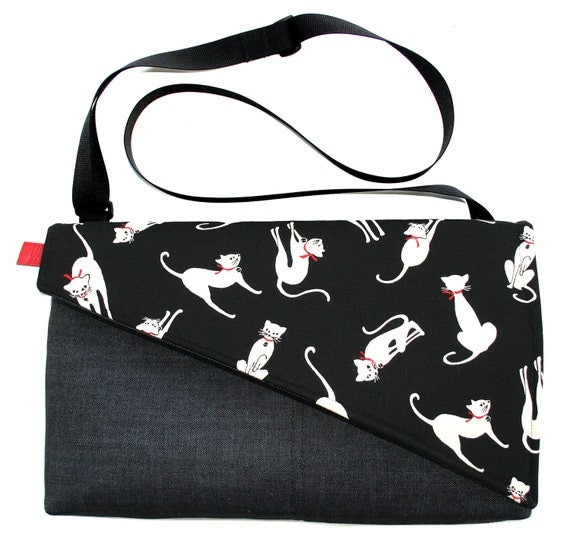 Cats, black and white, Messenger bag, cross body bag