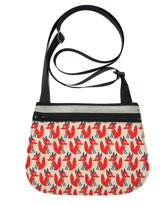 Foxes, red, grey, cross body, vegan leather, zipper top