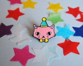 Pink Party Cat enamel lapel pin  Cat pin  Enamel pin  Enamel cat pin  I like cats  Cat lapel pin  Cat jewellery  Cat gifts  Cats