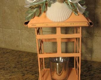 Coastal Inspired Lantern In Coral