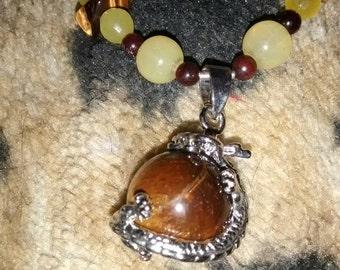 Prehnite Tiger Eye  Dragon Vintage  Necklace Earrings Set.....Very Elegant