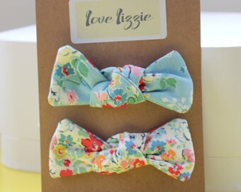 Cath Kidston floral, cotton, fabric, hair bows, clips, large.