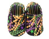Mardi Gras Baby Girl Shoes, 0-6 mos. Baby Booties, Mardi Gras Beads Clothing, Soft Sole Baby Shoes with Mardi Gras Beads, Baby Girl Gift