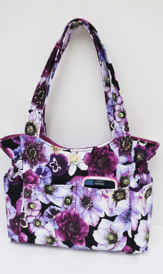 purple pansy floral shoulder bag travel handbag diaper bag. Black Bedroom Furniture Sets. Home Design Ideas