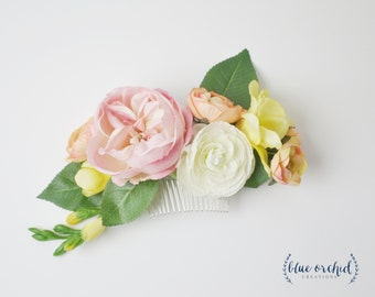 Silk Flower Hair Comb - Colorful Hair Comb, Silk Floral Hair Comb, Bridal Hair Comb, Wedding Hair Comb, Pink, Peach, Yellow, Wedding, boho