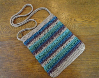Crochet Crossbody Bag Purse Tan Blue Green Purple Stripes Lined Zipper Closure Pockets