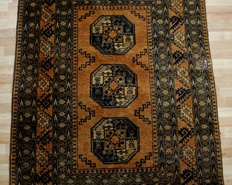 Vintage Caucasian Rug - Hand Knotted Mustard Wool Rug - 195cm x 130cm