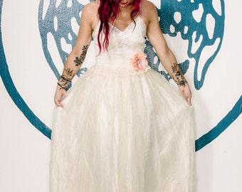 ivory silk organza embroidered boho wedding dress by Mermaid Miss Kristin
