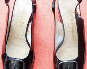 Vtg 60s SALVATORE FERRAGAMO Sleek Black PATENT Open Toe Sling Backs! 36 6.5