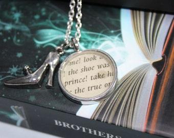 Cinderella Aschenputtel Fairy Tale Book Page Pendant  Necklace