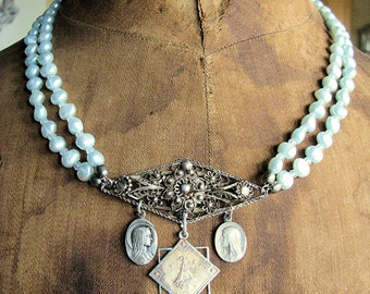 Blue Heaven  Blue Pearl Victorian  Filigree Vintage Religious Medals Necklace