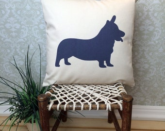 Corgi Pillow Cover, Corgi Art, Corgi Gift, Corgi Dog Silhouette, Corgi Dog, Dog Silhouette, Pet Silhouette, Corgi with Tail option
