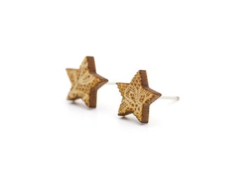 Star studs with lace pattern - star earrings - romantic tiny jewelry - wedding - lasercut maple wood - hypoallergenic surgical steel posts