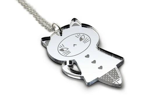 Cat doll necklace - acrylic silver mirror - kawaii doll pendant - cute kitten jewelry - graphic lasercut perspex - laser cut plexiglas