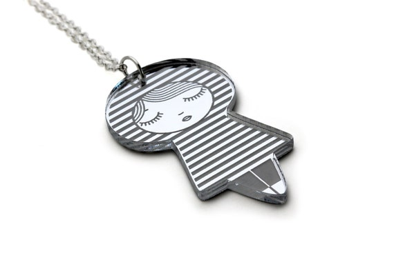 Sailor doll necklace - acrylic silver mirror - Japanese doll pendant - stripes - kokeshi jewelry - matriochka jewellery - lasercut acrylic