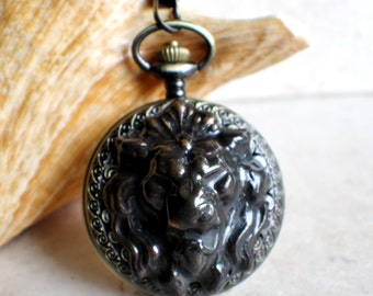 Lion pocket watch,  Men's Lion pocket watch  in antique bronze