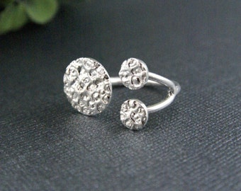 Sterling Silver Adjustable Coral Ring