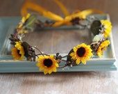 Floral Bridal Crown, Girls Floral Crown, Woodland Flower Halo, Rustic Floral Crown, Spring Floral Crown, Sunflower Wedding Accessory
