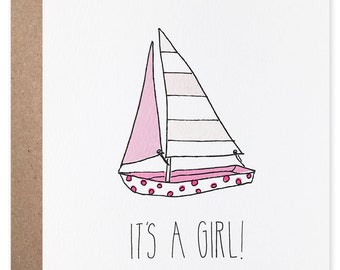 Sailboat It's a Girl Card
