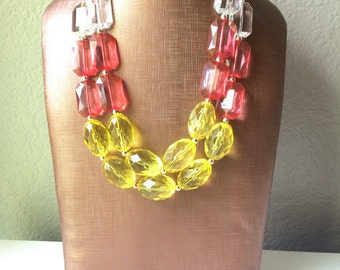 Yellow & Coral Ombre Statement Necklace - Chunky Two Strand Jewelry - COLOR BLOCK - ready to ship!