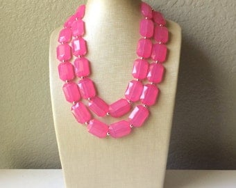 Bubblegum Pink Statement Necklace - Chunky Jewelry Big Beaded Double Strand Necklace Bib Preppy Jewelry
