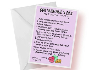 Valentine's Day Card- Valentine's Day Itinerary- Funny and Quirky Love Card