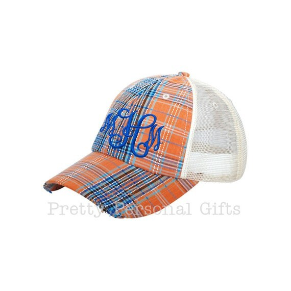 plaid baseball hat plaid trucker cap with monogram