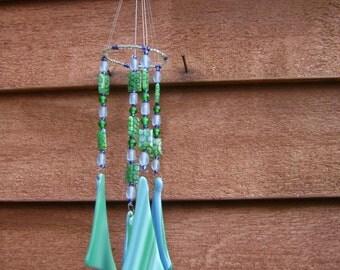 Windchime/ Suncatcher Green/Blue Fused Glass