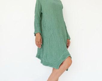 NO.201 Mint Double Cotton Gauze Long Sleeves Tunic Dress, Boat-Neck Dress, Stitch  Detail Tunic, Women's Tunic