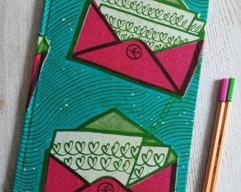 2017 planner diary calendar agenda A4 weekly Unique Bespoke Customised hardback cover African wax print - green pink envelope Ankara design