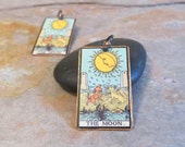 18 - EBX16: Tarot Earrings, The Moon, Rider-Waite jewelry, hypoallergenic, Tarot jewelry, XVIII, Major Arcana, Copper Tarot jewelry