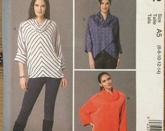 UNCUT Tunic Blouse Shirt Top Sewing Pattern McCalls 7252 Dolman Sleeves, Turtle Neck