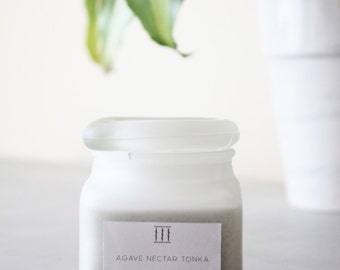 Three Silent Trees | Agave nectar tonka soy candle | frosted square jar