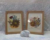 Reserved Vintage Decor Prairie Pictures Hand Made Feather Flower Craft By Ida Bisek Prokop  Kitsch Fun Collectible Signed
