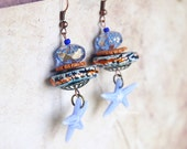 Blue earrings / Beach Jewelry / starfish ocean summer / Ceramic & glass beads / gift idea