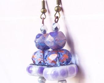 Mauve purple earring dangle , artisan ceramic jewelry , cute earring cottage chic