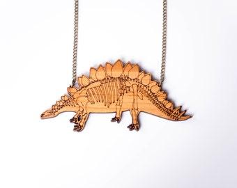 Stegosaurus Skeleton Dinosaur Necklace. Statement Necklace. Wood Necklace. Acrylic Perspex Plastic Jewellery. Skeleton Jewelry. Bone Pendant