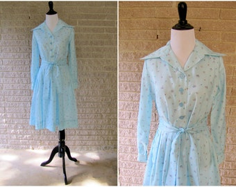 Vintage Party Dress | 1970s | Powder Blue Garden Party Dress | Small