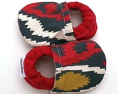 SALE - soft sole baby shoes everest tula booties red and gray shoes for baby vegan baby shoes everest tula accessories ikat baby shoes