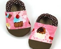 cupcake shoes baby girl cupcake booties rubber sole shoes pink and brown pink cupcake slippers rubber toe shoes baby girl soft sole shoes
