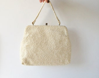 Vintage Beaded Bag, Corde Bead by Lumured Purse, Caviar Bead Vintage Handbag, 1960s Creamy White Beaded Purse