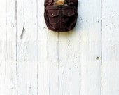Upcycled Bag, Brown Corduroy Purse, Shabby Chic style handbag, shoulder bag upcycled winter purse, gift for her, recycled bag, ready to ship
