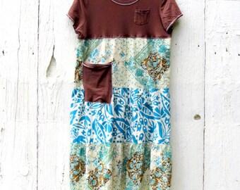 Boho Chic Dress, Fall Fashion, Upcycled Dress, Tiered skirt, bohemian dress, women's repurposed clothing, size medium dress, floral dress